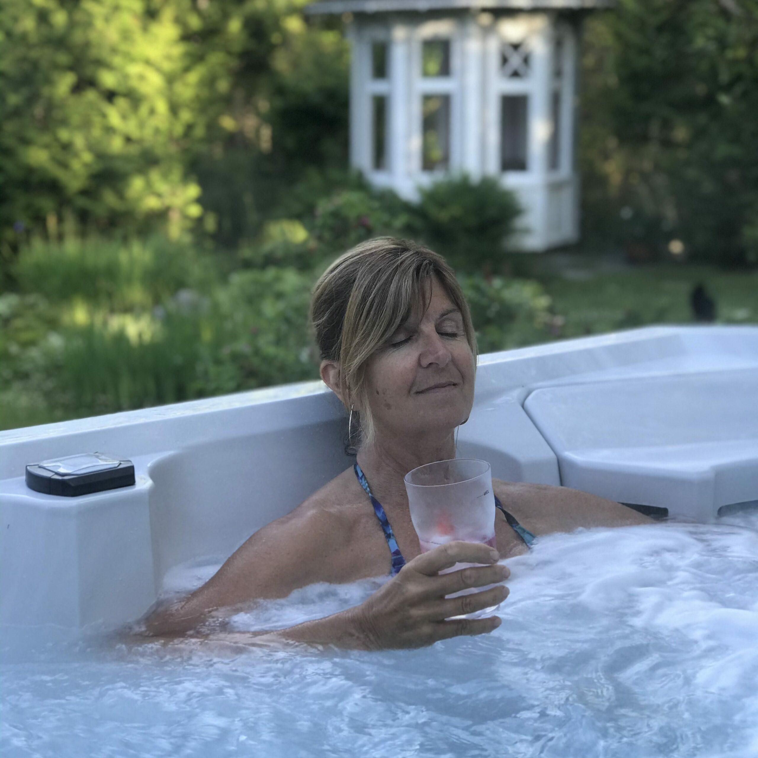 spa bath in garden